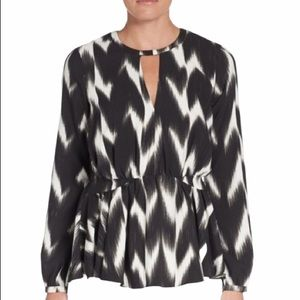 Rachel Zoe Black Pattern Peplum Long Sleeve Blouse